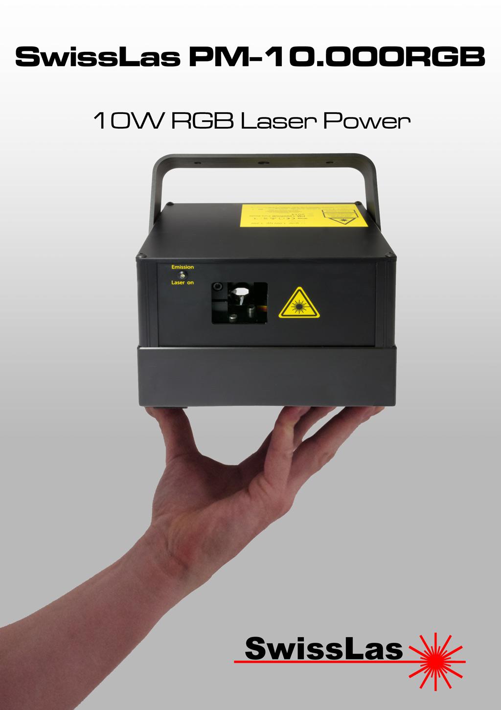 SwissLas - PM10000RGB in hand info