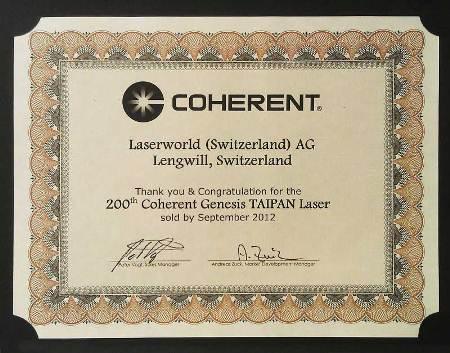 Coherent Genesis Taipan OPSL Certificate Laserworld