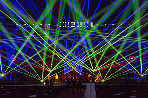 Laser show at PRG stage on Prolight+Sound Frankfurt 2017 laser show
