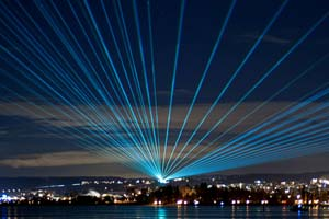 22 Laser Beams Over Lake Constance 2012