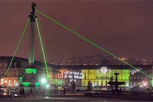 Laser Pyramid for Year of Forests 2011 in Stuttgart / Germany