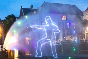 Laser Show on fine spray mist @ Alkmaar City Run 2019