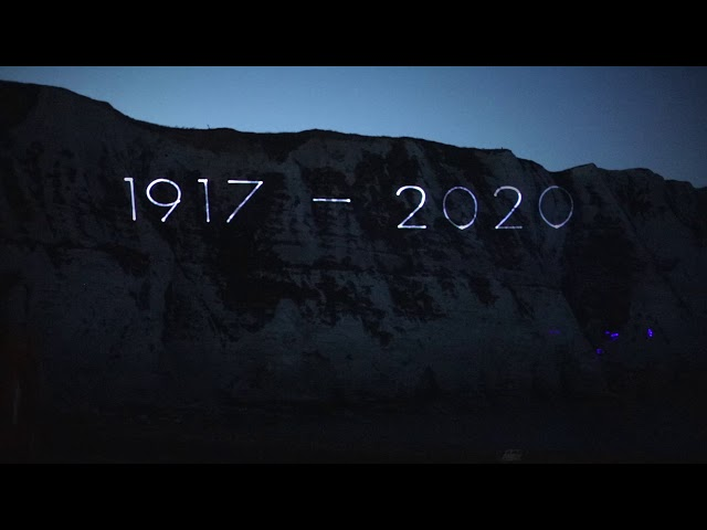 A tribute to Dame Vera Lynn, laser projection onto the White Cliffs of Dover - Kent Media Group