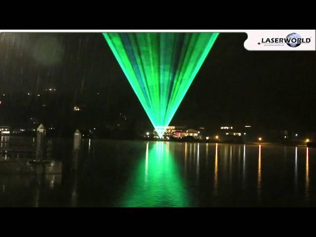 Laser show demonstration over a lake somewhere in Bavaria | Laserworld